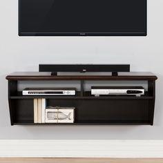 """48"""" Hardwood Veneer Top Wall Mounted TV Component Shelf"""
