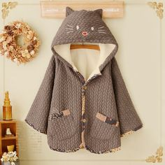 Cute kawaii animal cat velvet hoodie cape cotton coat