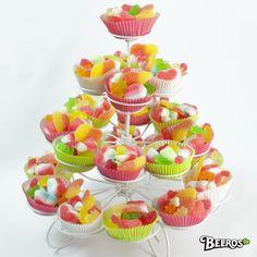 Presentación chuches en cup cakes