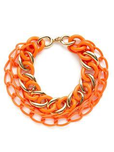 Gold & Orange Multi-Strand Link Necklace by Kenneth Jay Lane at Gilt