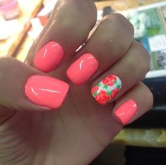 """Coral nails"" A big trend with younger women when it comes to painting their nails is using bright colors. Also, what is called ""the party nail"" or in other words the ring finger on both hands is painted a complementary color or pattern. -Adair M"