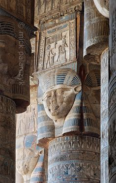 Hathor headed columns in Dendera. The columns in the outer hypostyle hall (or pronaos) of the Hathor Temple at Dendera, Egypt