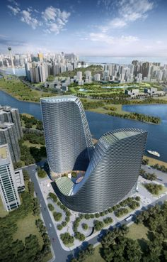 waterfront Huarong Hengqin Tower as part of Hengqin Island District