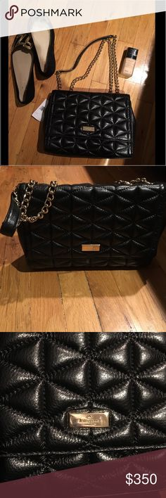 """NWT Kate Spade Quilted Handbag Quilted leather with 14-karat light gold plated hardware 7.25""""h x 11""""w x 2.25""""d Convertible chain-embellished strap that can be worn tucked under arm or crossbody Interior features zip, cellphone and multi-function pockets  color:black kate spade Bags Shoulder Bags"""