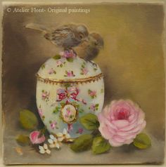 The two mischievous birds & Sevres sugar bowl by HelenFlont