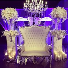 Sweetheart table high back white leather crystal button tufted loveseat. Wedding reception.