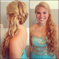 French Braided to the Side Long Mermaid Curls by www.TeaseandMakeup.com  Senior Ball | Prom | Blonde | Mermaid Curls | French Braid  Makeup Artist & Hair Stylist serving on location in  Utica NY | Albany NY | Syracuse NY |