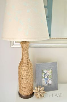 Maybe I Will...: Life's a Beach! - Coastal Inspired Entry Way -- This robe covered lamp and stenciled shade are so cute! #lamp #diy #upcycle