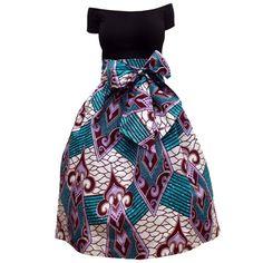 Amsa African Print Midi Skirt with Sash (Turquoise/White) – D'IYANU