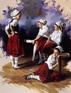 Ricardo Sanz – Poxpoliñas descansando Óleo sobre lienzo. 116×89 cms.