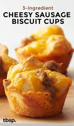An easy, on-the-go breakfast that doubles as a legit brunch offering made with just three ingredients seems too good to be true, but these cheesy sausage biscuit cups made in a muffin pan prove it's possible!