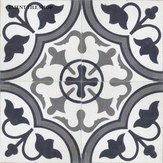 Cement Tile Shop - Encaustic Cement Tile | Roseton Black