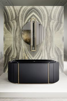 Decorative, beautiful and boasting a pattern that is similar to agate stones, this amazing panel creates a mirrored effect that brings a soothing and peaceful ambience to your private oasis, and one cannot deny its beauty. Top Interior Designers, Home Decor Trends, Best Interior, Bathtub, Bathroom Inspiration, Luxury Branding, Metal Working, Contemporary Design, Upholstery
