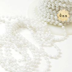 White Faux Pearl Beaded Trim  4mm Round  plastic beads by PLUMULE, $3.00