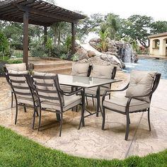 Metal Patio Dining Set 7 Piece Vintage Bistro Table And Chairs Outdoor Furniture #MetalPatioDining