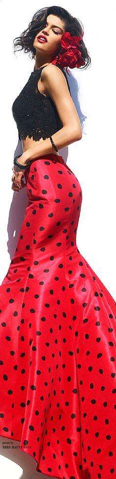 ❤ Polka-Dot Skirt  Sherri Hill Fall 2014- Via ~LadyLuxury~