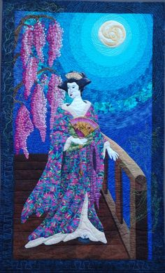 Moonlight Goddess Hoffman challenge 2006, embellished art quilt by Donna Cherry