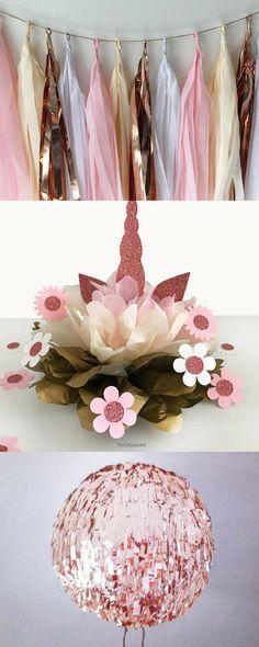 Rose Gold Unicorn Party Decoration, Rose Gold Party Decor, Unicorn Birthday Decoration, Unicorn Centerpiece, #Unicorn #Birthday #Party #Decor #ad