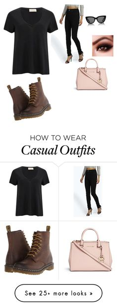 """""""Cutely Casual"""" by christianabalfour on Polyvore featuring American Vintage, Boohoo, Dr. Martens, Sunday Somewhere and Michael Kors"""