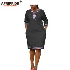 Online Shop 2019 summer women dress african print AFRIPRIDE tailor made half sleeve knee length casual pencil batik dress for women African Attire, African Wear, African Dress, Latest African Fashion Dresses, African Print Fashion, African Prints, South African Traditional Dresses, Pretty Black Dresses, Batik Dress