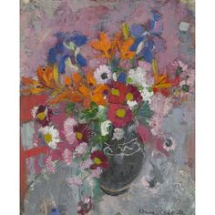 Artwork by Anne Redpath, A Still Life Of Spring Flowers, Made of oil on board