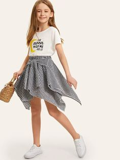 To find out about the Girls Mixed Print Top & Knot Front Gingham Hanky Skirt at SHEIN, part of our latest Girls Two-piece Outfits ready to shop online today! Girls Fashion Clothes, Tween Fashion, Teen Fashion Outfits, Girl Fashion, Girl Clothing, Cute Girl Outfits, Kids Outfits Girls, Cute Casual Outfits, Tween Mode