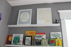 How sweet are these art prints? Love the idea of displaying them on the top wall of the library wall! #nursery