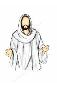 Jesus Christ Drawing, Jesus Christ Lds, Jesus Christ Painting, Jesus Drawings, Jesus Art, God Jesus, Christian Drawings, Christian Art, Lds Art