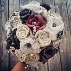 Nothing says badass bride like a little leather and lace. | 27 Breathtaking Alternatives To A Traditional Wedding Bouquet