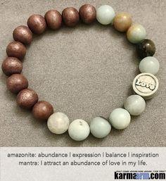 ABUNDANT LOVE: Amazonite | Sandalwood | Raku Love Yoga Mala Beaded Bracelet