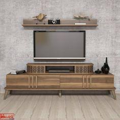 Comoda Tv Eylul cu Raft - Nuc White Tv, Tv Unit, Timeless Design, Studio, Living Spaces, Entertaining, Contemporary, Furniture, Home