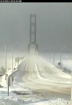 Mackinaw Bridge or the Mighty Mac that connects upper and lower Michigan in the winter.{the Mackinaw bridge is beautiful but I always am usually freaked out when we drive across. State Of Michigan, Lake Michigan, Wisconsin, Northern Michigan, Michigan Accent, Holland Michigan, Michigan Vacations, Mackinac Island, Nebraska