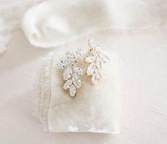 Rose gold earrings Bridal jewelry CZ Bridal stud earrings Rose | Etsy