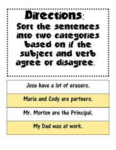 Subject Verb Agreement sort  from The Educated Crown on TeachersNotebook.com (4 pages)  - Students will sort 24 sentences into two categories: Subject Verb Agreement and Subject Verb Disagreement. Includes is, are, am, were, has, have, had, past, present, and future tense verbs.