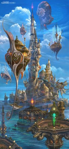 Time for another of Fantasy post. Today I'm featuring the art of Kazumasa Uchio. floating buildings / airships - elements of steampunk or fantasy technology Fantasy setting inspiration Fantasy City, Fantasy Places, Sci Fi Fantasy, Fantasy World, Final Fantasy, Fantasy Castle, Fantasy Landscape, Landscape Art, Landscape Illustration