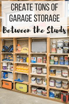 Reclaim that unused garage space! These simple shelves utilize the space between. Reclaim that unused garage space! These simple shelves utilize the space between the studs, and hol Storage Shed Organization, Garage Storage Solutions, Paint Storage, Storage Ideas, Storage Systems, Tool Storage, Tool Shed Organizing, Plate Storage, Shelving Solutions