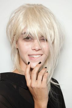 THE TOP GLOBAL MANICURES FOR SPRING 2013: What better way to support the grunge hair and makeup look at John Rocha than with a classic, angst-ridden black polish?