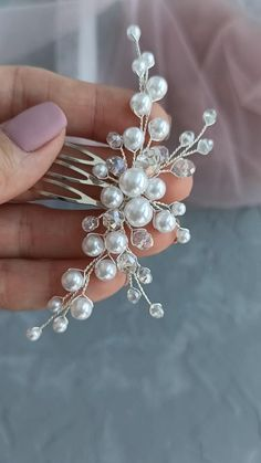 Pearl Headpiece, Headpiece Jewelry, Pearl Hair, Bead Jewellery, Hair Jewelry, Wedding Jewelry, Beaded Jewelry, Handmade Wire Jewelry, Handmade Hair Accessories