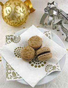 Gingerbread Macarons with Chocolate Chestnut Cognac Ganache