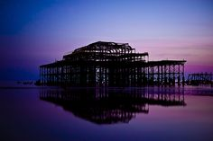 Old Brighton peer , Sunset at low tide a few weeks back