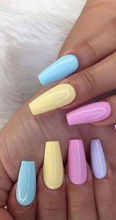 10 Stunning Spring Pastel Coffin Nails For Your Beautiful Fingers - We have rounded some of the pretty and as well as modish pastel coffin nail designs for the spring - Ten Nails, Aycrlic Nails, Coffin Nails, Hair And Nails, Glitter Nails, Summer Acrylic Nails, Best Acrylic Nails, Summer Nails, Spring Nails