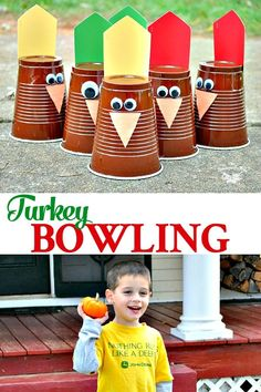 While you're busy in the kitchen whipping up a feast, entertain the children with a fun and easy Thanksgiving Game: Turkey Bowling! Thanksgiving Activities For Kids, Thanksgiving Parties, Fun Activities For Kids, Thanksgiving Table, Easy Games For Kids, Fall Table, Thanksgiving Recipes, Holiday Games, Humor