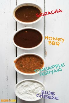 How to Make 4 Chicken Wing Dipping Sauces Chicken Wing Dipping Sauce, Chicken Wing Sauces, Sauce For Chicken, Chicken Wing Recipes, Chicken Wings, Easy Homemade Buffalo Sauce, How To Make Sauce, Honey Bbq, Everyday Food