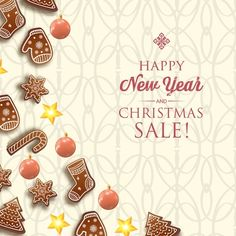Download Merry Christmas And Happy New Year Card With Greeting Inscription And Traditional Symbols On Light for free