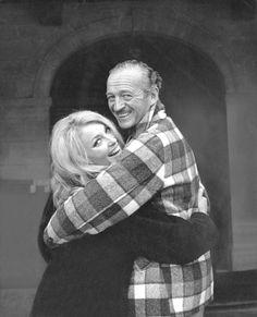 Sharon Tate & David Niven on the set of Eye of the Devil.