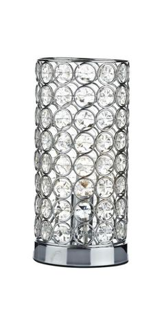 Modern Crystal Beaded Glass and Chrome Lamp