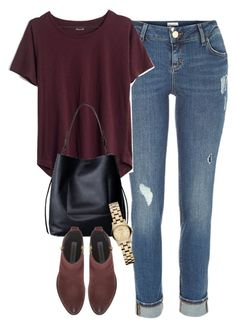 """""""Untitled #3498"""" by keliseblog ❤ liked on Polyvore featuring mode, River Island, Madewell, AllSaints en Marc by Marc Jacobs"""