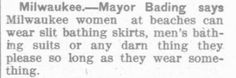 BEAUTIFY BATHING: Mayor Balding of Milwaukee states his views on the propriety of ladies bathing suits. 1913
