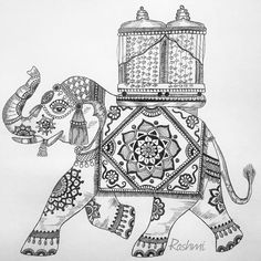 The elephants form the core of the Mysore Dasara procession on the Vijayadashami day. The lead elephant carries the Golden Howdah (Chinnada Ambari) with the Goddess Chamundeshwari in it. Elephant Sketch, Elephant Art, Mandala Drawing, Mandala Art, Mysore Dasara, Mysore Painting, Indian Art Paintings, Indian Elephant, Hindu Art