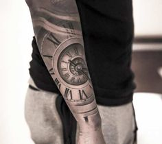 Awesome black and grey 3D clock tattoo art works by tattoo artist Niki Norberg